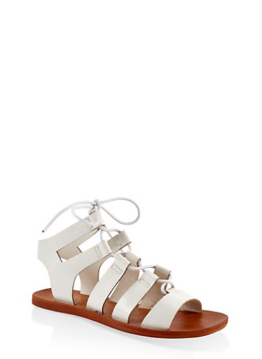 Lace Up Gladiator Sandals | 1112004066678,WHITE,large