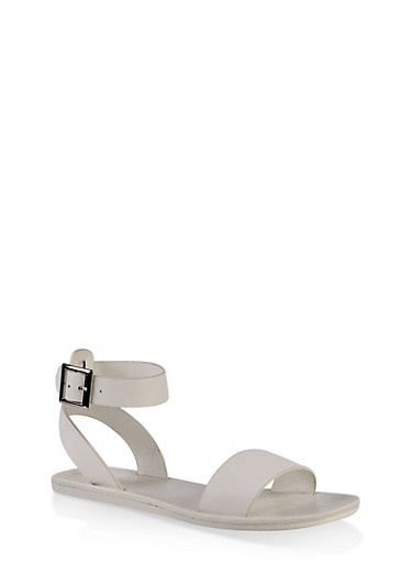 One Band Ankle Strap Sandals,WHITE,large