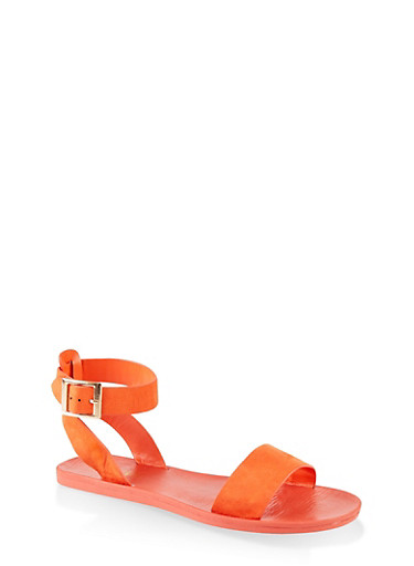 One Band Ankle Strap Sandals,ORANGE,large
