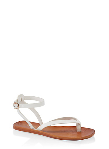 Thong Ankle Strap Sandals,WHITE,large