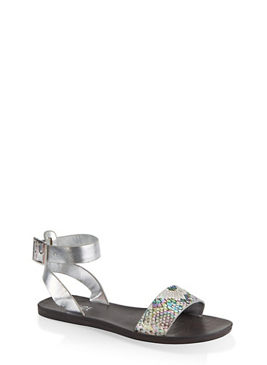Single Band Ankle Strap Sandals,SILVER,large