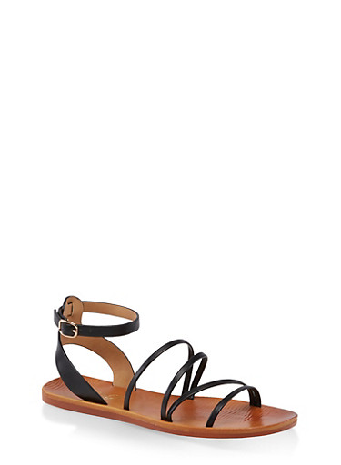 Strappy Faux Leather Sandals,BLACK,large