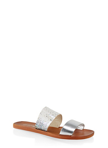 Contrast Two Band Slide Sandals,SILVER,large