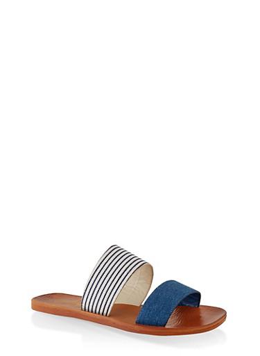 Contrast Two Band Slide Sandals,DENIM,large