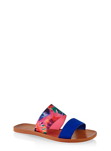Contrast Two Band Slide Sandals,ELECTRIC BLUE,large