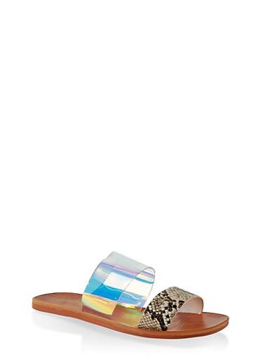 Contrast Two Band Slide Sandals,NATURAL SKIN PRINT,large