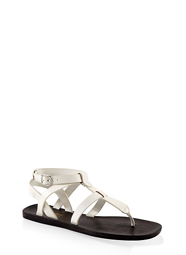 Caged Thong Sandals,WHITE,large