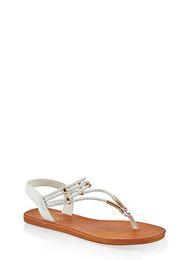 Braided Band Thong Slingback Sandals,WHITE,large