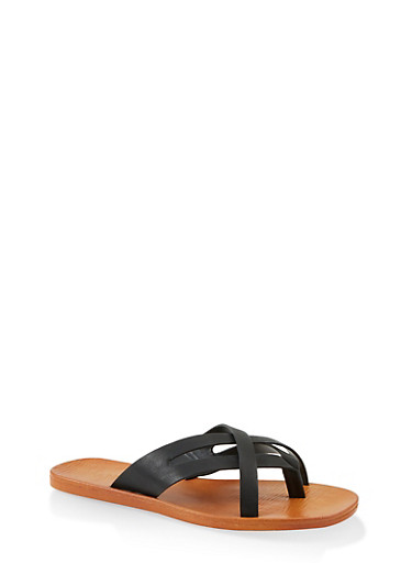 Criss Cross Strap Thong Sandals,BLACK,large