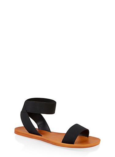 Elastic Single Strap Sandals,BLACK,large