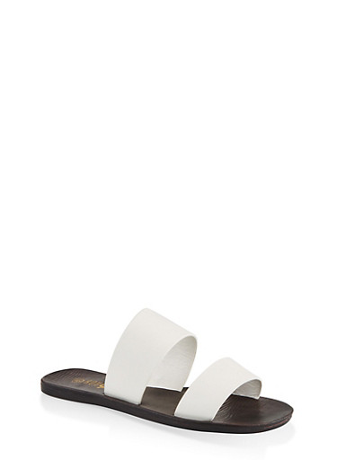 Two Band Slide Sandals,WHITE,large
