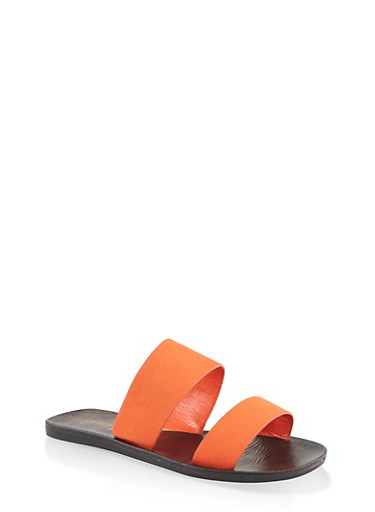 Two Band Slide Sandals,ORANGE,large