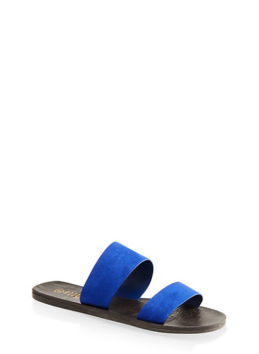 Two Band Slide Sandals,ELECTRIC BLUE,large