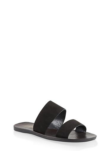 Two Band Slide Sandals,BLACK SUEDE,large