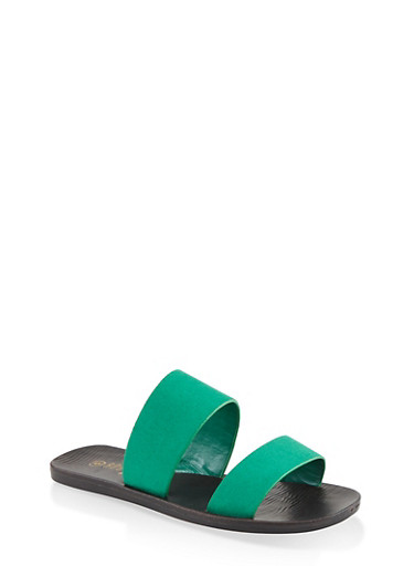 Two Band Slide Sandals,GREEN S,large