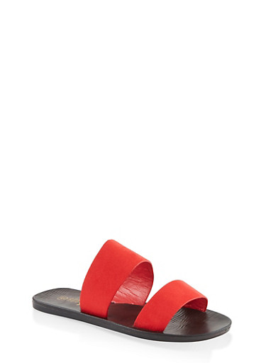 Two Band Slide Sandals,RED S,large