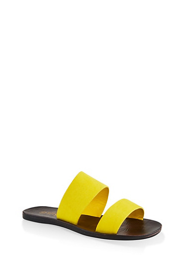 Two Band Slide Sandals,YELLOW S,large