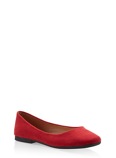 Round Toe Ballet Flats,RED S,large