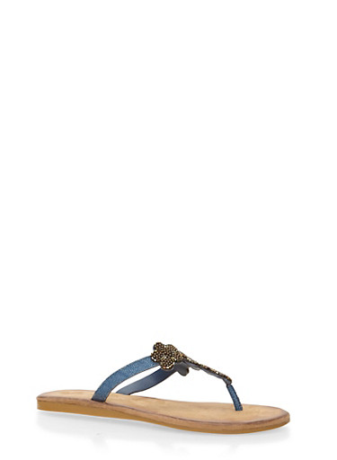 Thong Sandals with Beaded Floral T Strap,BLUE DENIM,large