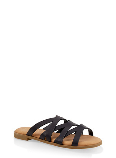 Strappy Slide Sandals,BLACK,large