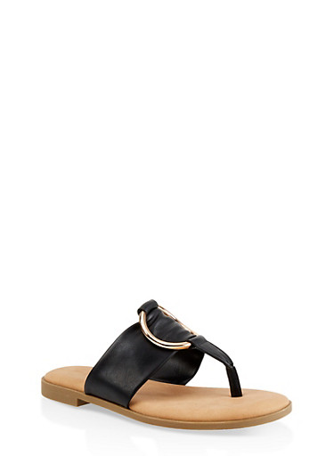 Metallic O Ring Thong Slide Sandals,BLACK,large