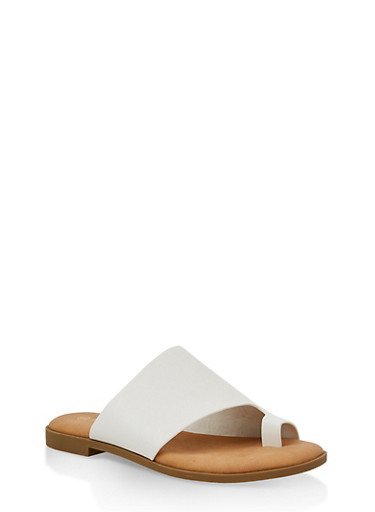 Toe Ring Slide Sandals | 1112004067360,WHITE,large