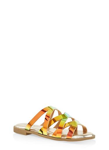 Iridescent Criss Cross Slide Sandals,GREEN,large