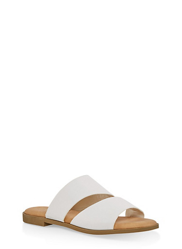 Asymmetrical Double Band Slide Sandals,WHITE,large