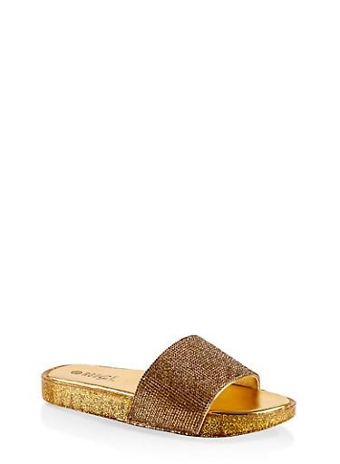 Rhinestone Band Slide Sandals,ROSE,large