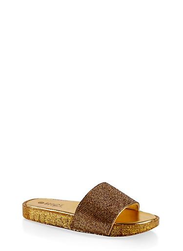 Rhinestone Band Slide Sandals,GOLD,large