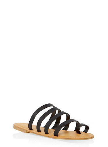 Strappy Toe Ring Slide Sandals | 1112004067471,BLACK,large