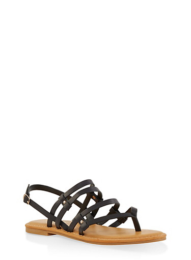 Strappy Thong Sandals,BLACK,large