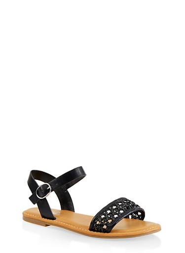 Woven Strap Faux Leather Sandals,BLACK,large
