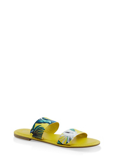 Printed Double Band Slide Sandals,YELLOW,large