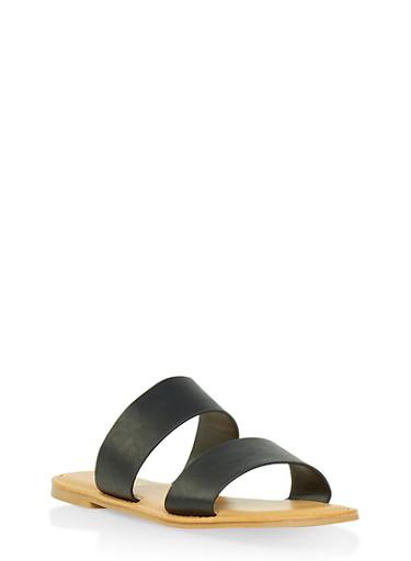 Double Band Slide Sandals,BLACK,large