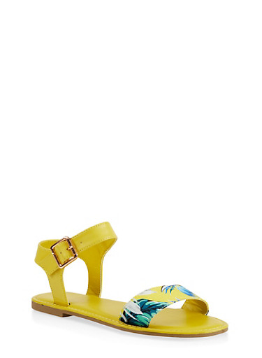 Single Band Ankle Strap Sandals,YELLOW,large