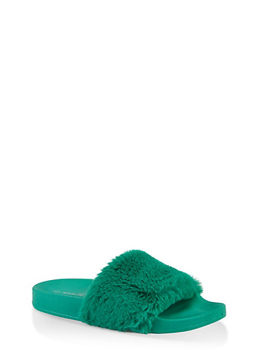 Faux Fur Band Pool Slides,GREEN,large
