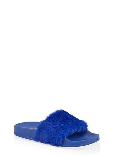 Faux Fur Band Pool Slides,BLUE,large