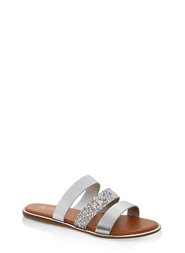 Triple Strap Slide Sandals with Metallic Trim,SILVER MULTI,large