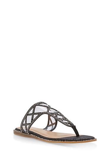 Rhinestone Shimmer Thong Sandals,BLACK GLITTER,large