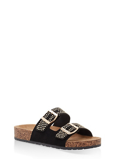Studded Double Strap Footbed Sandals,BLACK NUBUCK,large