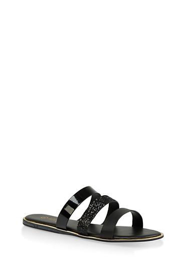 Triple Band Slide Sandals,BLACK,large