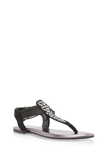 Rhinestone Strap Thong Sandals,BLACK NUBUCK,large
