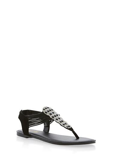 Rhinestone Elastic Thong Sandals,BLACK NUBUCK,large