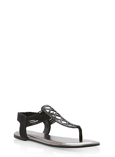 Laser Cut Rhinestone Thong Sandals,BLACK GLITTER,large