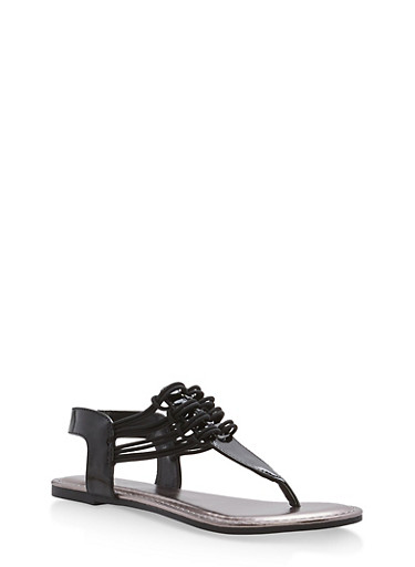 Stretch Loop Thong Sandals,BLACK PATENT,large