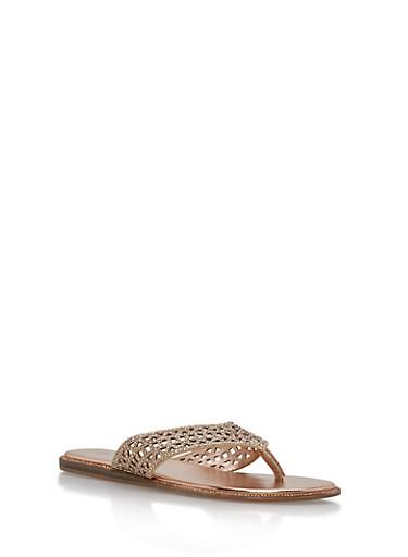 Laser Cut Rhinestone Studded Thong Sandals   Tuggl