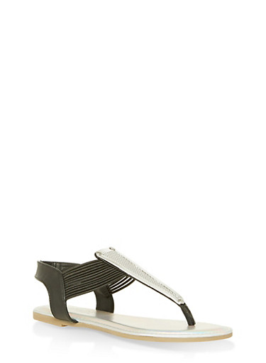 Strappy Thong Sandals with Textured Metallic Detail,BLACK KPU,large