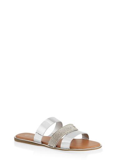 Triple Band Slide Sandals,SILVER,large