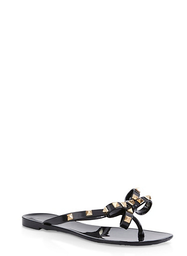 Studded Bow Jelly Flip Flops | 1112004067885,BLACK,large